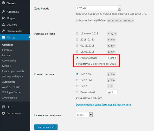 Personalizar la fecha en wordpress - Eduardo Santillana
